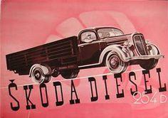 ŠKODA DIESEL 254 D (around 1935) Car Advertising, Old Cars, Vintage Cars, Diesel, Trucks, European Countries, Czech Republic, Buses, Vehicle
