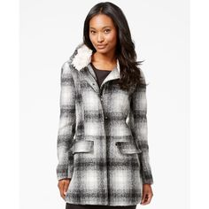 Madden Girl Faux-Fur-Trim Plaid Walker Coat ($50) ❤ liked on Polyvore featuring outerwear, coats, hooded coat, madden girl, faux fur trim hooded coat, white faux fur coat and white fake fur coat
