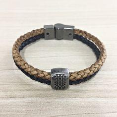 Pulseira Masculina Couro Duplo Trançado Bracelete Bridao mens bracelets fashion style cocar brasil