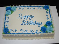 Classic sheet cake with blue buttercream roses for a special birthday Creative Cake Decorating, Birthday Cake Decorating, Cake Decorating Techniques, Creative Cakes, Twin Birthday Cakes, 17th Birthday, Special Birthday, Pastel Rectangular, Sheet Cakes Decorated