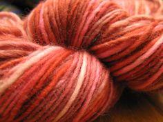 Handspun Red and Pink Wool Yarn. $38.00, via Etsy.