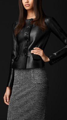 Peplum Detail Leather Jacket | Burberry