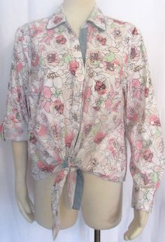 NEW Womens Ladies STYLE & CO White Pink & Green Floral Cotton Shirt Top PXL #Styleco #ConvertibleSleeveBlouse #VERSATILE