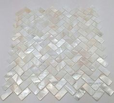 Genuine Mother of Pearl Oyster Herringbone Shell Mosaic Tile for Kitchen Backsplashes, Bathroom Walls, Spas, Pools
