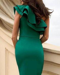 One Shoulder Ruffles Design Slit Party Dress - Dresses Pin 👗 Elegant Dresses For Women, Fabulous Dresses, Casual Dresses, Short Dresses, Dresses For Work, Prom Dresses, Summer Dresses, Formal Dresses, Casual Attire