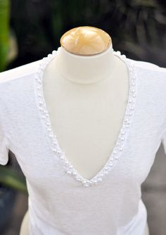 DIY Pearl Encrusted Deep V T-Shirt