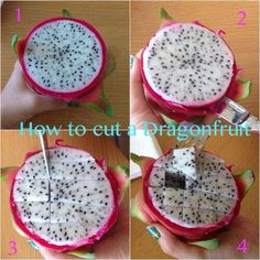 How to cut a dragon fruit How To Cut Dragon Fruit, Posh Nosh, Valeur Nutritive, Clean Eating Snacks, Healthy Eating, Healthy Tips, Healthy Food, Healthy Recipes, Natural Yogurt