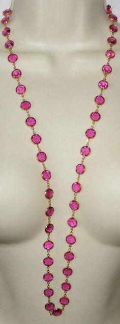 Vintage signed SWAROVSKI long Fuschia pink large Bezel Set Crystal NECKLACE swan #Swarovskimarkedwithswanlogohangtag #longwithlargerthanaveragecrystalsSautoir