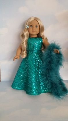 18 inch doll clothes - #280 Teal Sequin Gown handmade to fit the American girl doll by susiestitchit on Etsy
