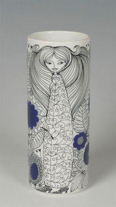 Esteri Tomula Pastoraali vas för Arabia Finland Marimekko, Second Hand, Bavaria, Aladdin, Finland, Retro Vintage, Nostalgia, Porcelain, Blue And White