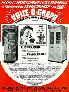 Vintage Ad  Create your own Record/Recording of your voice or song... in a booth like the telephone booths.