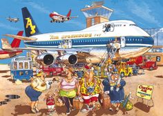Ravensburger Wasgij Jigsaw Puzzles and Solutions Illustrations, Illustration Art, Airplane Illustration, Cartoon Art Styles, Puzzle Art, Hidden Pictures, Space Crafts, 1000 Piece Jigsaw Puzzles, Happy Holidays