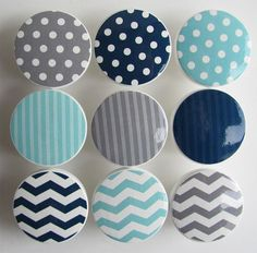 Mixed Pattern Drawer Knobs via Brit + Co.