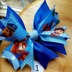 Paw Patrol Theme Pinwheel Hair Bow Hair Clip Made By Norma's Unique Gift Baskets.