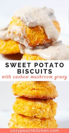 Sweet potato biscuits are southern style biscuits made extra fluffy and moist with pureed sweet potato. Cashew mushroom gravy is a savory and creamy vegan addition to these biscuits. Vegan Mushroom Gravy, Vegan Gravy, Vegan Biscuits And Gravy, Vegan Breakfast Recipes, Vegan Recipes, Cooking Recipes, Healthy Southern Recipes, Vegan Sweet Potato Recipes, Cooking Cake