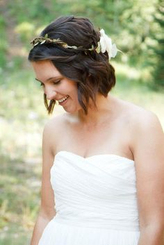 wedding hair - short bob, flower wreath @Laura Jayson Gillis @Megan Ward p