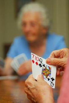 Large print playing cards make rummy night easier and much more fun for seniors with reduced vision.