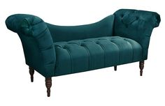 House of Hampton Astaire Linen Chaise Lounge Upholstery: Mystere Peacock Velvet Chaise Lounge, Velvet Sofa, Chaise Lounges, Lounge Chairs, Chinoiserie, Settee Sofa, Tufted Chair, Living Room Furniture, Furniture Chairs