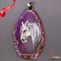 ATTRACTIVE HAND PAINTED HORSE GEMSTONE AGATE DIY NECKLACE PENDANT  ZL808532 #ZL #Pendant