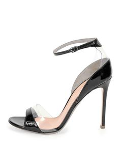 X2F6S Gianvito Rossi Leather/Vinyl Ankle-Wrap Sandal