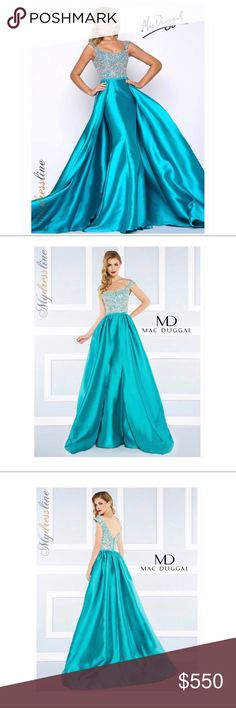 Evening/prom gown dress Jade green Mac Duggal dress Mac Duggal Dresses Prom