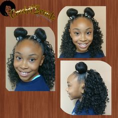 My 9 yr old sporting one of her favorite Crochet styles. Moon Buns in the front with just her natural hair and Crochet Braids in the back with Jamaican Bounce hair. This style takes less than hour to achieve. 6 cornrows going straight down the back of her head. One pack of Jamaican Bounce split into small sections. The convenient thing about this style is that we can switch up the front section at any time. #kiddiecrochet #blackgirlshair #kidscrochetbraids #blackgirlshairstyles