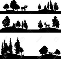 Set Of Different Landscapes With Deciduous Trees, Coniferous.. Royalty Free Cliparts, Vectors, And Stock Illustration. Image 40619105.