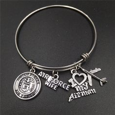 64mm Diameter America Military Medal Air Force Wife Charm Stainless Steel Adjustable Wire Bangles Bracelets Bulk Lots Jewelry