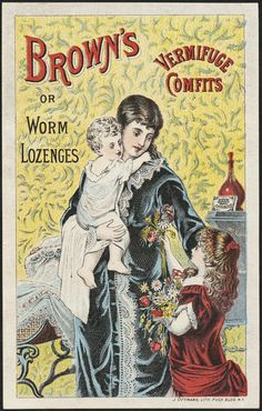 """"""" Brown's Vermifuge Comfits, or Worm Lozenges"""" - late 19th US trade card, patent medicine."""
