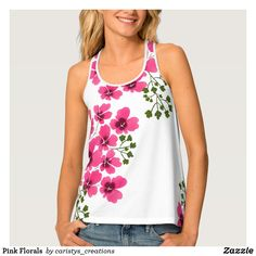 Pink Florals Tank Top Floral Tank Top, Summer Wear, Ladies Day, Vintage Fashion, Vintage Style, Dress Up, Just For You, Tank Tops, Purple