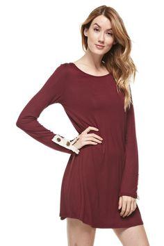 Burgundy Lace Button Back Dress