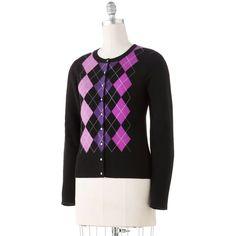 Apt. 9 Argyle Cashmere Cardigan ($35) ❤ liked on Polyvore featuring tops, cardigans, apt. 9, apt 9 cardigan, apt 9 tops, cashmere tops and cashmere cardigan
