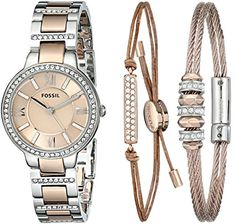 Fossil Women's Virginia Three Hand Stainless Steel Watch with Bracelet Set - Silver and Rose Gold-Tone - Smart Pinner Stainless Steel Watch, Stainless Steel Bracelet, Jewelry Accessories, Fashion Accessories, Fossil Watches, Analog Watches, Women's Watches, Luxury Watch Brands, Bling Bling