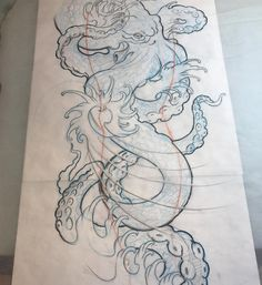 Full sleeve in the works! #latnightdrawing #octopus #octopustattoo…