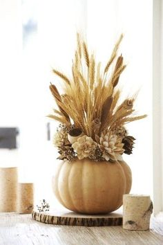 2015 diy Thanksgiving pumpkin flower and wheat centerpiece - wooden, decor - LoveItSoMuch.com
