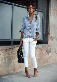 A striped button down, white jeans and your favorite pair of heels create a super easy to achieve spring look!