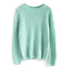 Chicwish Basic Fluffy Sweater in Mint ($51) ❤ liked on Polyvore featuring tops, sweaters, shirts, jumpers, green, mint green top, mint shirt, mint top, shirts & tops y mint sweater