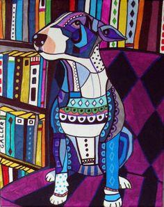 DOG ART  Miniature Bull Terrier Art PRINT by HeatherGallerArt, $24.00