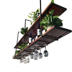2 Tiers Hanging Ceiling Shelves Rack, Wine Storage Rack/Bookshelf/Flower Stand for Living Room Bar Kitchen, Floating Decorations Shelf Home Decor Kitchen, Kitchen Interior, Kitchen Dining, Bar Kitchen, Ceiling Shelves, Ceiling Hanging, Industrial Style Kitchen, Industrial Farmhouse, Farmhouse Design