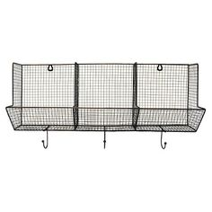 3 Piece Wire Basket With Hooks 12x24