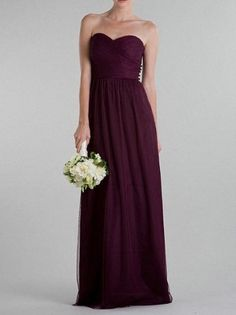 Popular Chiffon Ruffled Bridesmaid Dress Grape A Line Bridesmaid Gown