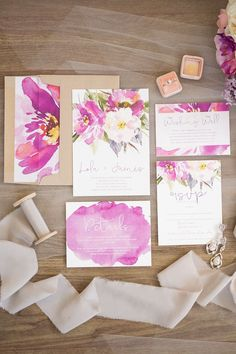 Watercolor Floral Wedding Invitation | Watercolour Wedding Stationery | Photography by @taylor_gevelinger | Floristry by @thepetalpost