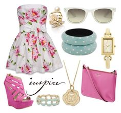 """""""Floral Pink + Polka + Gold"""" by jemevangelista on Polyvore featuring Abercrombie & Fitch, Steve Madden, Kate Spade, MOOD, Monki, Ariella Collection, Forever 21 and Oasis"""