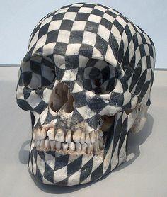 Graphite on human skull,Gabriel Orozco
