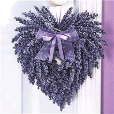 Lavender Heart Wreath w/lavender Ribbon~ Beautiful Country Home Decor! Lavender Heart Wreath w/lav Lavender Crafts, Lavender Wreath, Lavander, Purple Wreath, Lavender Ideas, Lavender Garden, Lavender Blue, Lavender Fields, Valentine Decorations