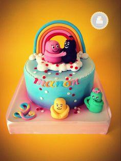 #Cake design thème #Barbapapa #amour / bleu et rose / sur 1 étage / #arcenciel et #barbapapas en sucre faits mains / By Sweet Kate / #pateasucre / #SweetKate / #Anniversaire / #Gateau