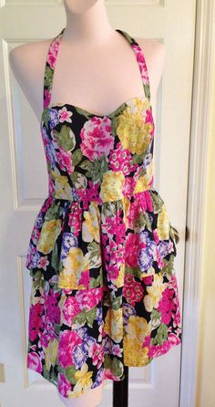 Moda International by Victoria's Secret Black Floral Tiered Summer Dress Sz 14 #ModaInternational