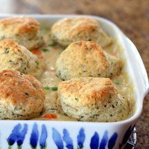 If you're looking for a homemade chicken and biscuits recipe, this one is a great choice. This tasty chicken casserole is made with chicken breasts and topped with easy homemade parsley biscuits.