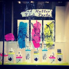 Shop window at Whittards, Alice in Wonderland theme.