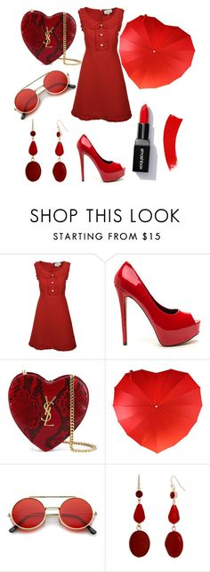 """red rmntc set"" by evagelialove on Polyvore featuring Gucci, Yves Saint Laurent and Mixit"